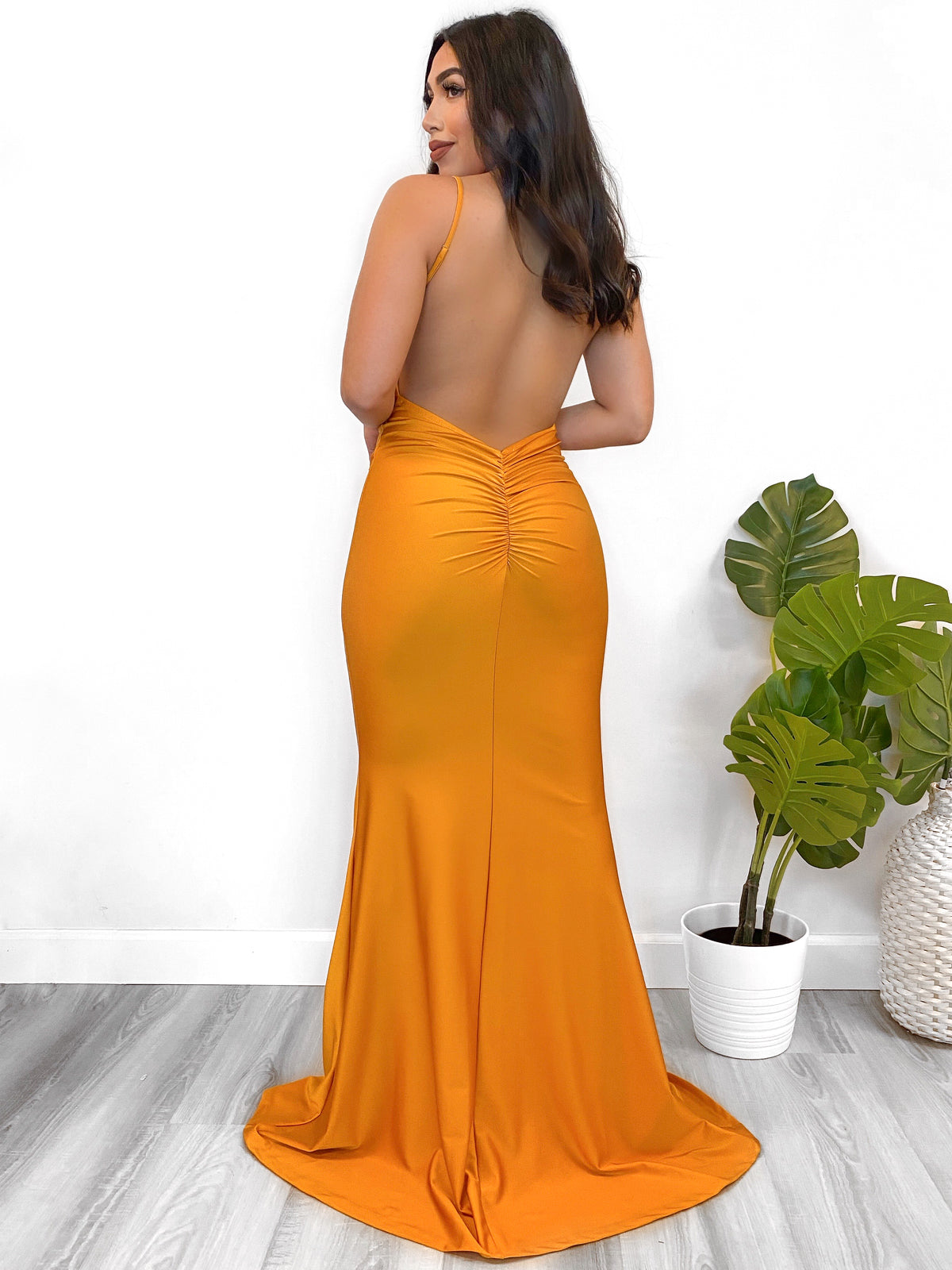 mustard dress, gown, open back, scrunch, adjustable straps, v cut