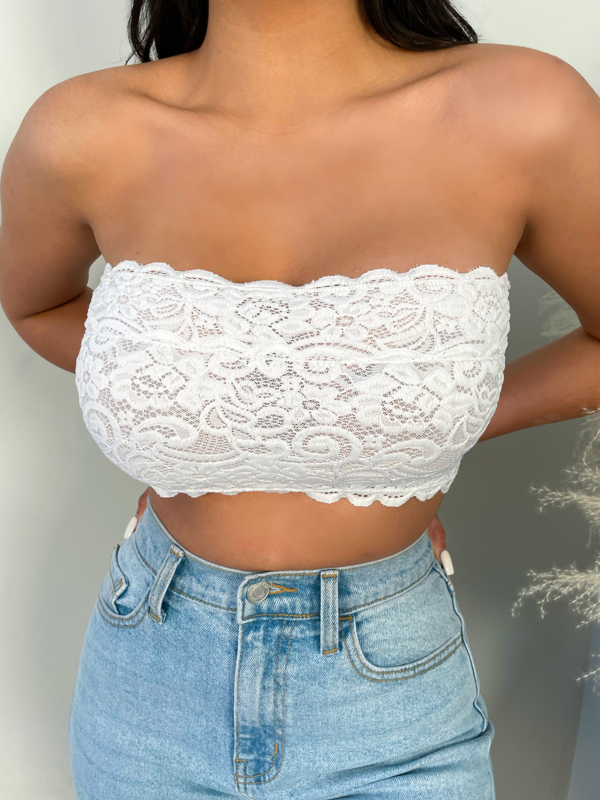 white bandeau, strapless, cropped, lace, embroidered