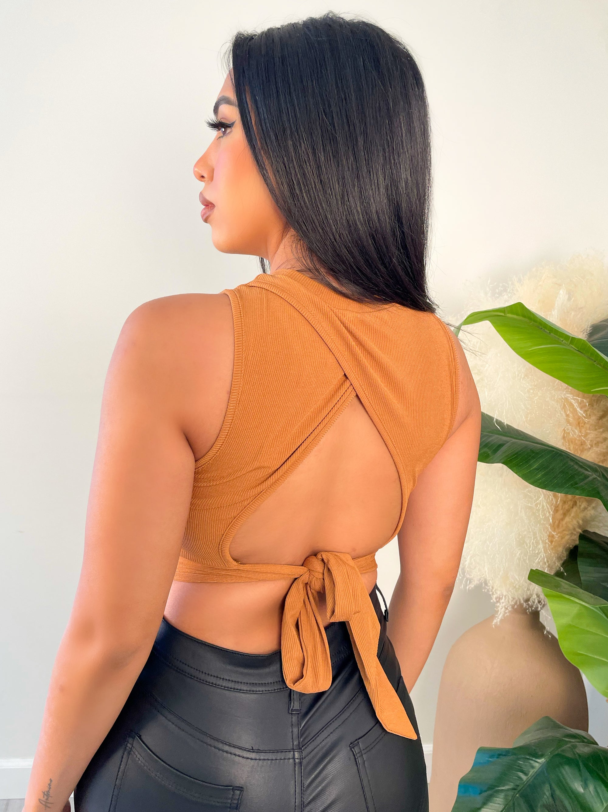 rust top, crop top, tank top, ribbed, open back, self tie back straps