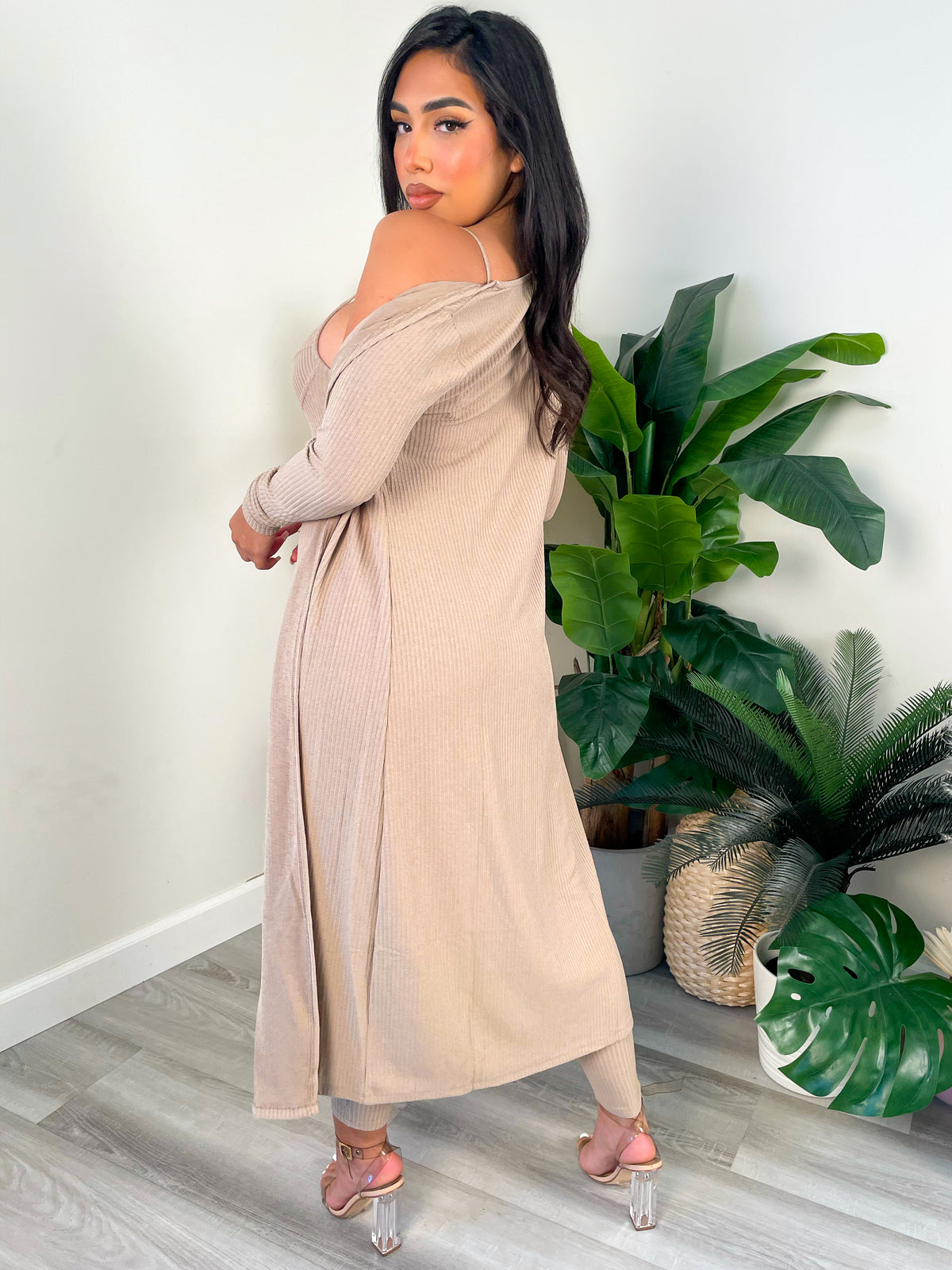 taupe 2 piece, ribbed, taupe fitted jumpsuit, cardigan, adjustable straps