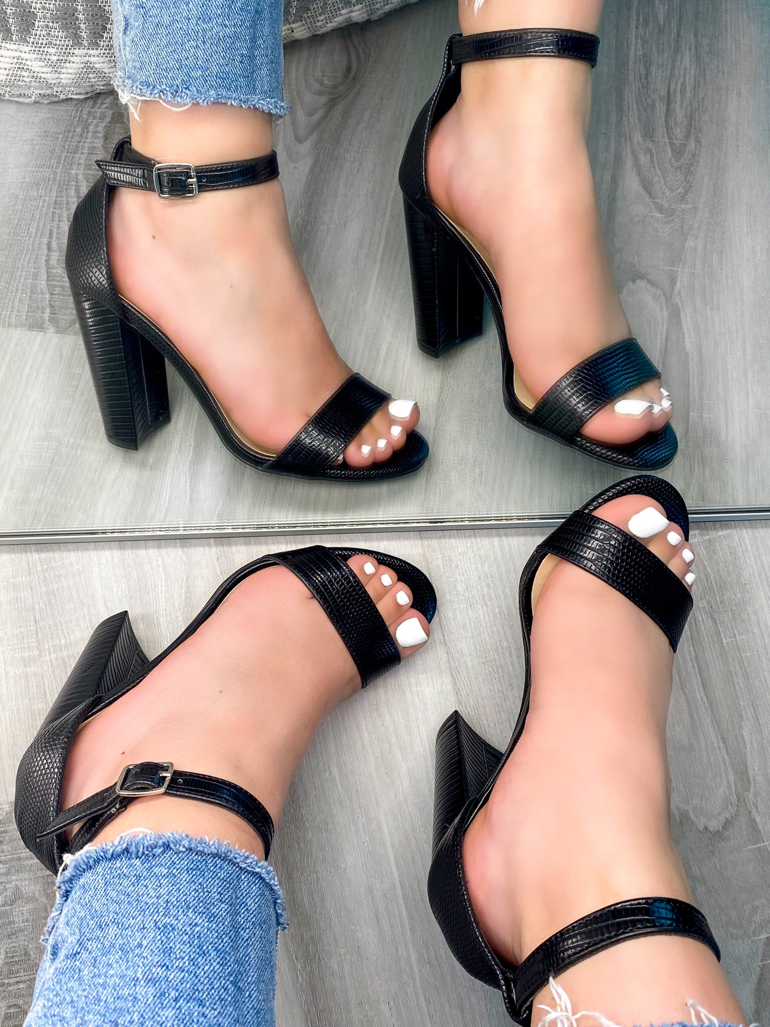 black leather heels, adjustable buckle, single strap
