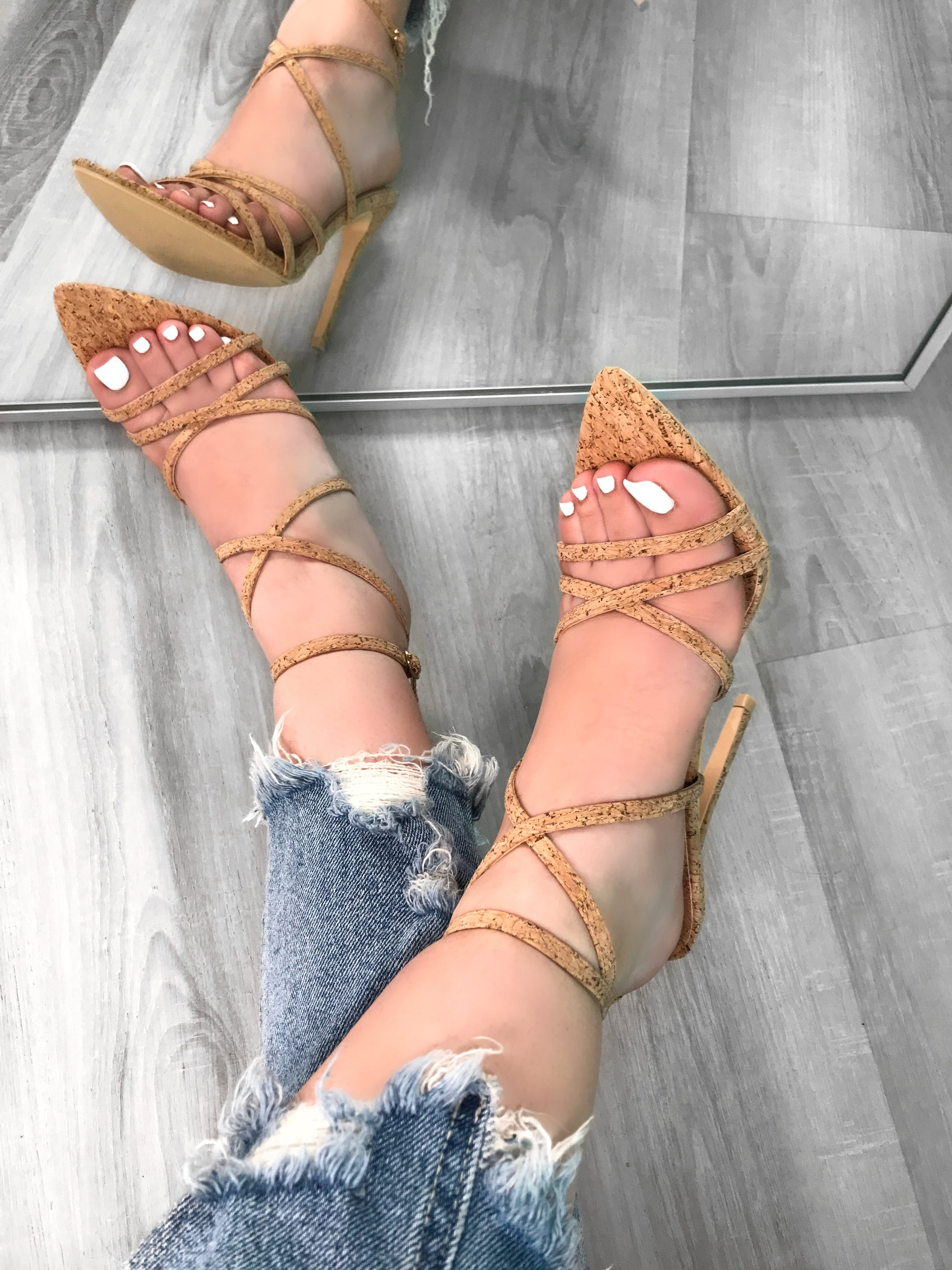 cork heels, adjustable straps, pointy heels, criss-cross