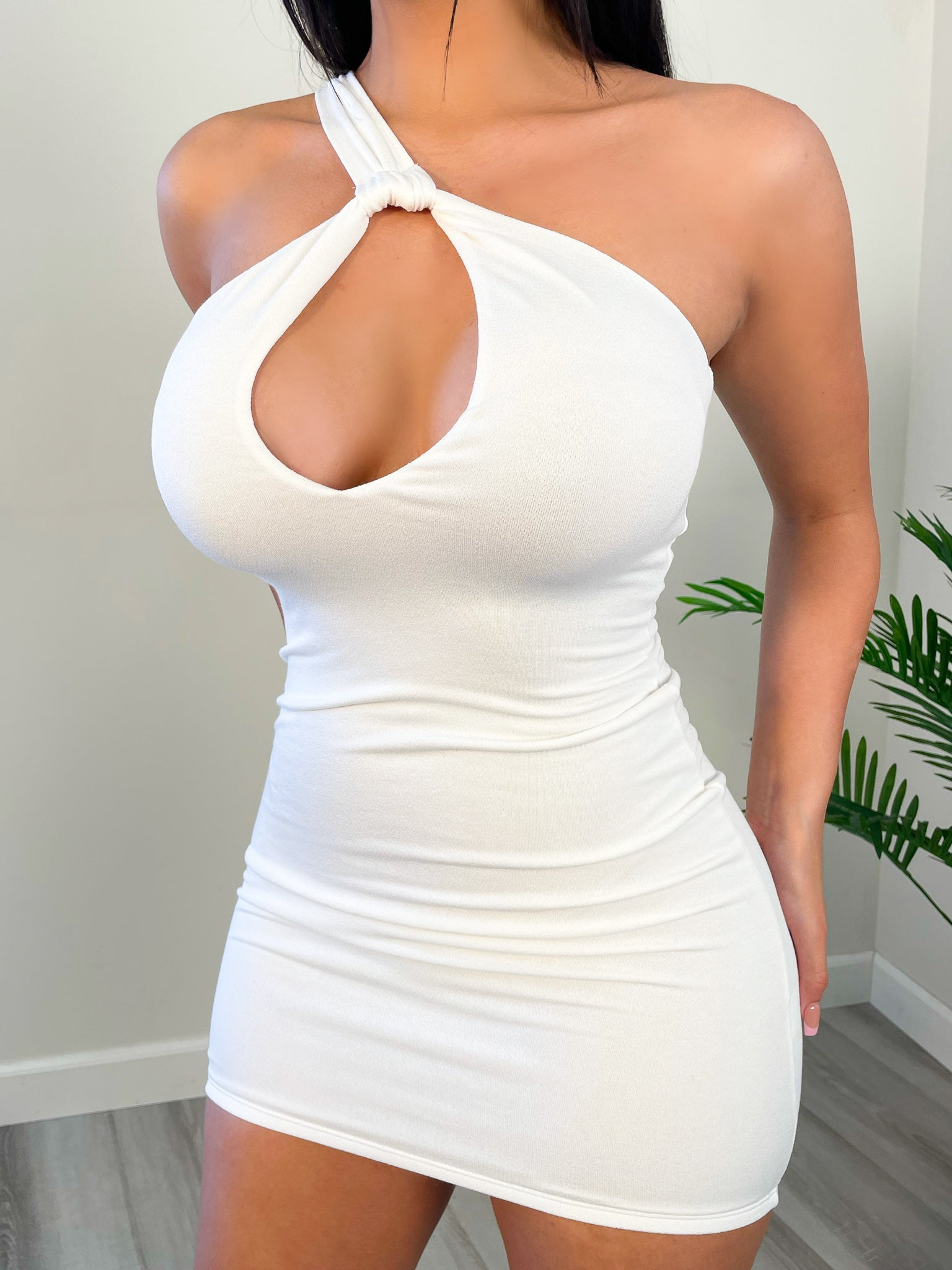 white mini dress, middle opening, one shoulder, backless