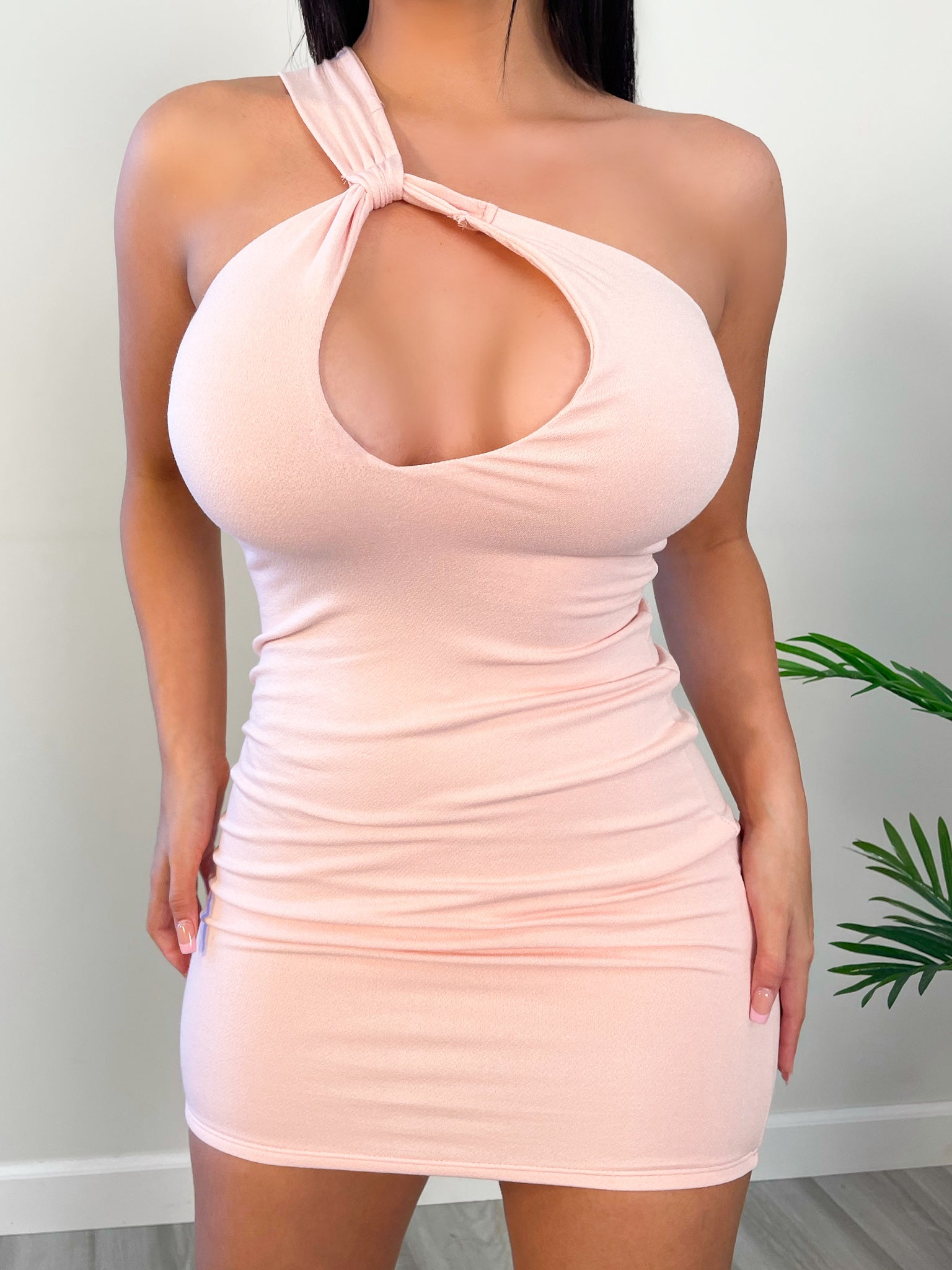 blush mini dress, middle opening, one shoulder, backless
