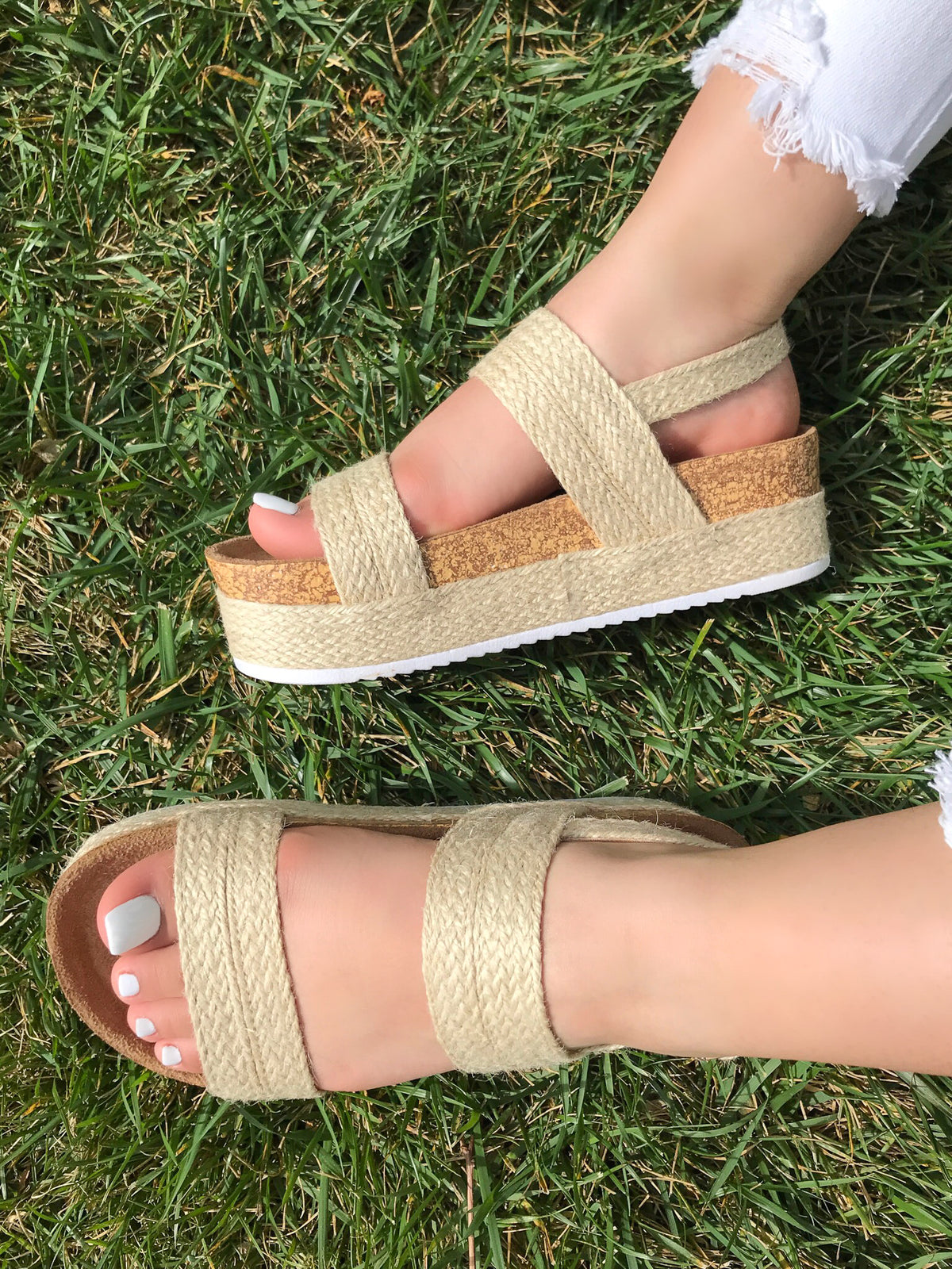 platform sandals, nude, cork bottom, adjustable buckle