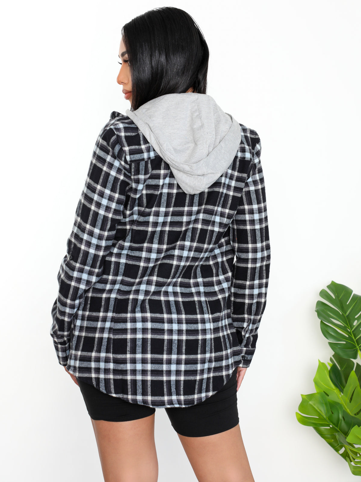 Sasha Flannel Shirt (Black/Blue)