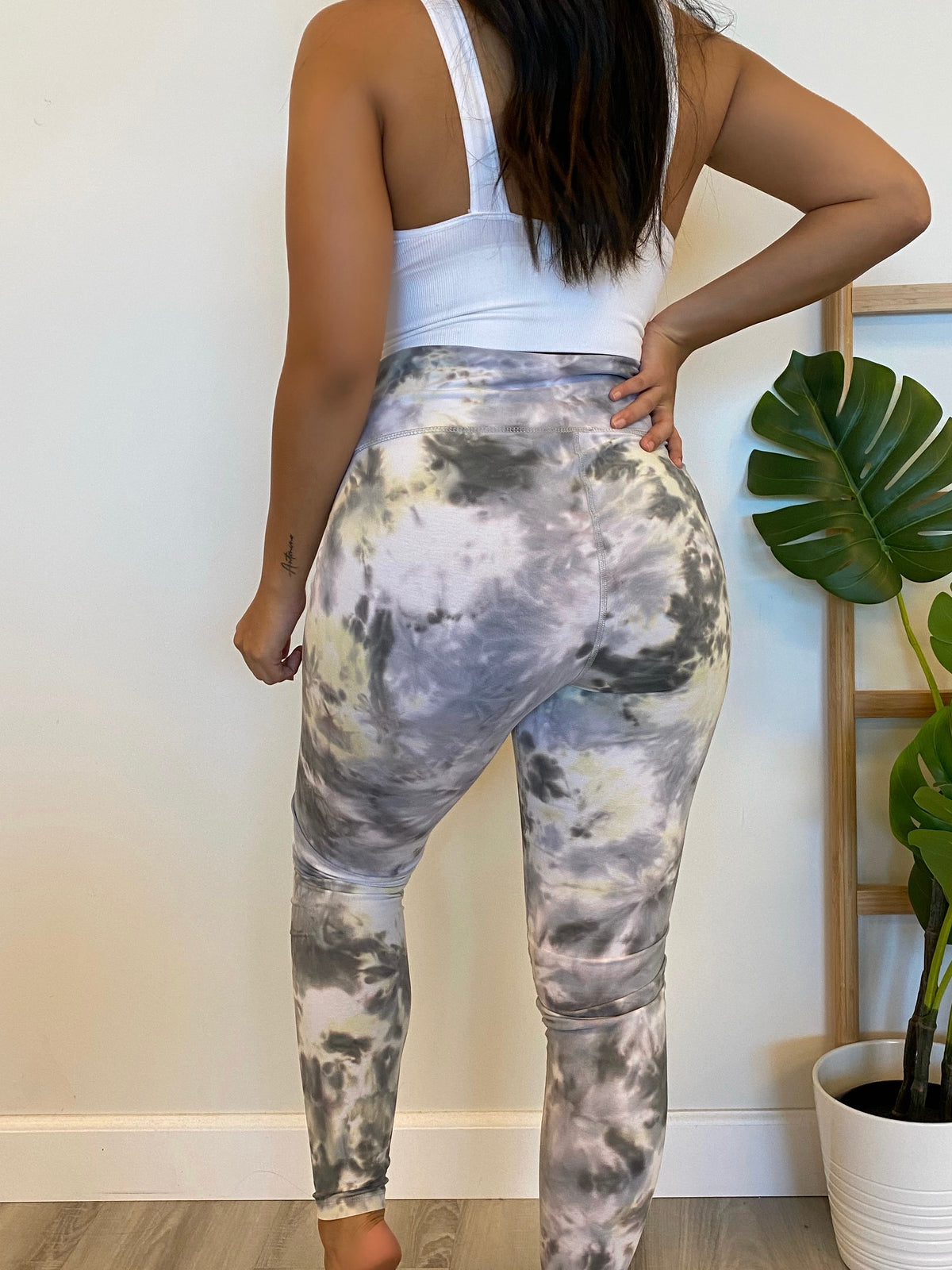 high waist leggings, yellow/ grey, workout leggings