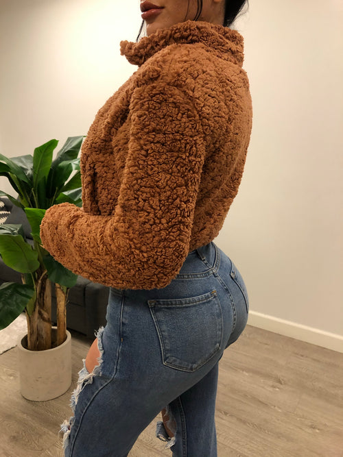 rust teddy bear jacket with zipper . polyester jacket with two jaw strings In the front , perfect with denim jeans comes in 3 colors.