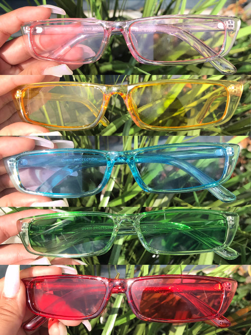 square frame sunnies, clear with colored tint of yellow, pink, green, blue and red.