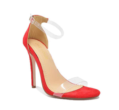 red platform heel with clear straps. 4.5 inches high.