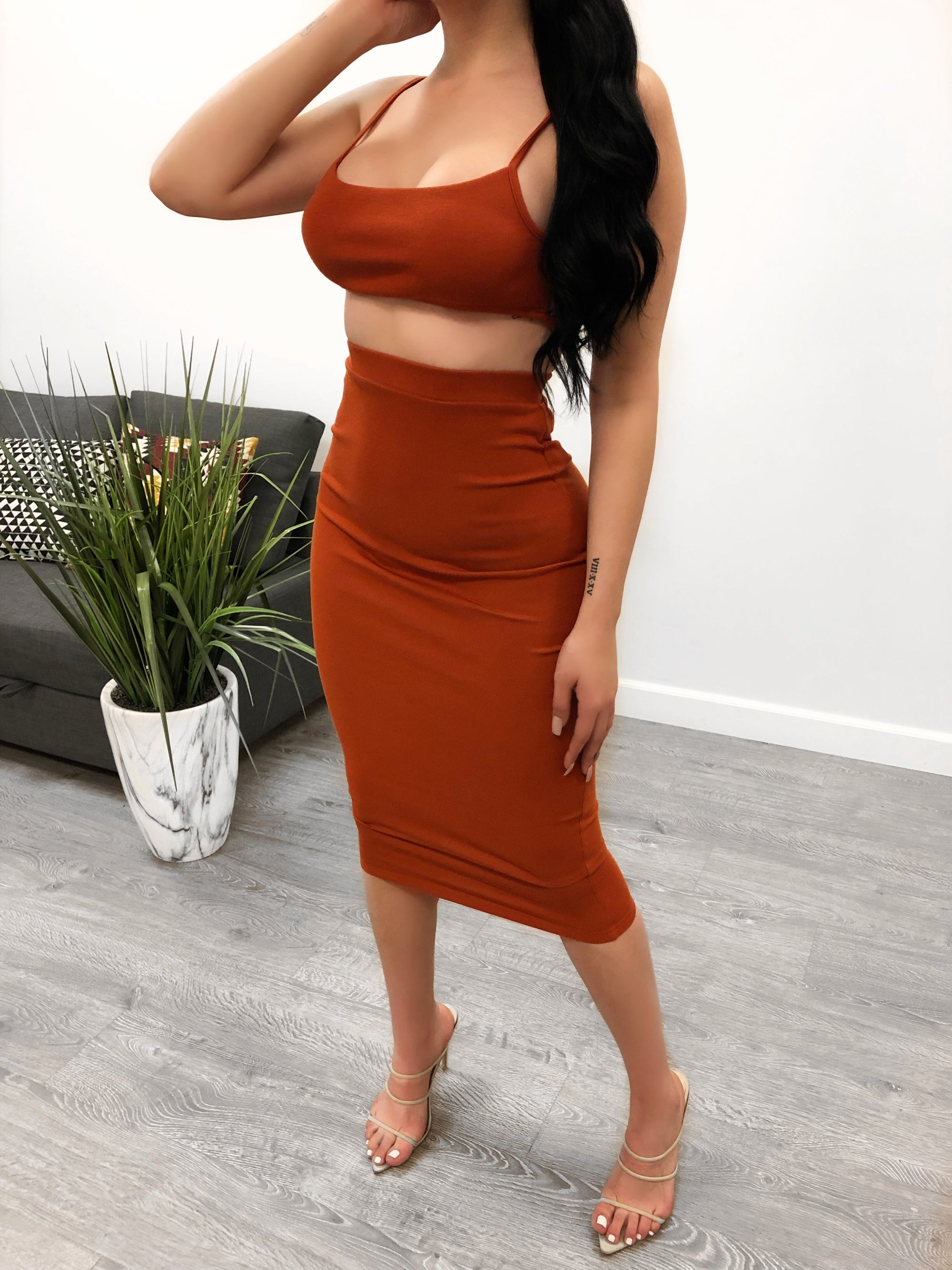 rust two piece set. backless top. non adjustable strap on back for support. high waisted skirt. skirt is below the knee length.