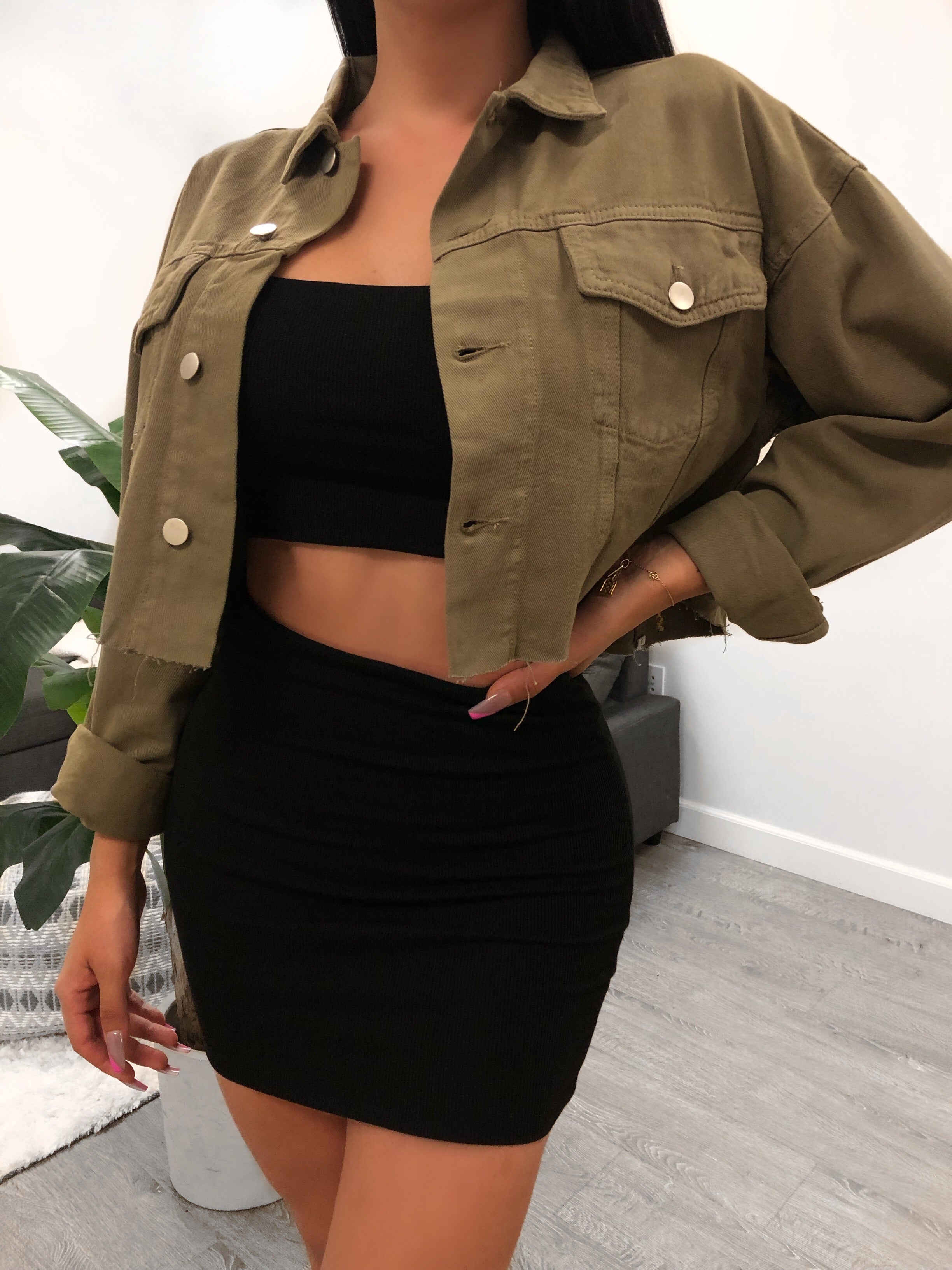 Isabella Denim Crop Jacket (olive)