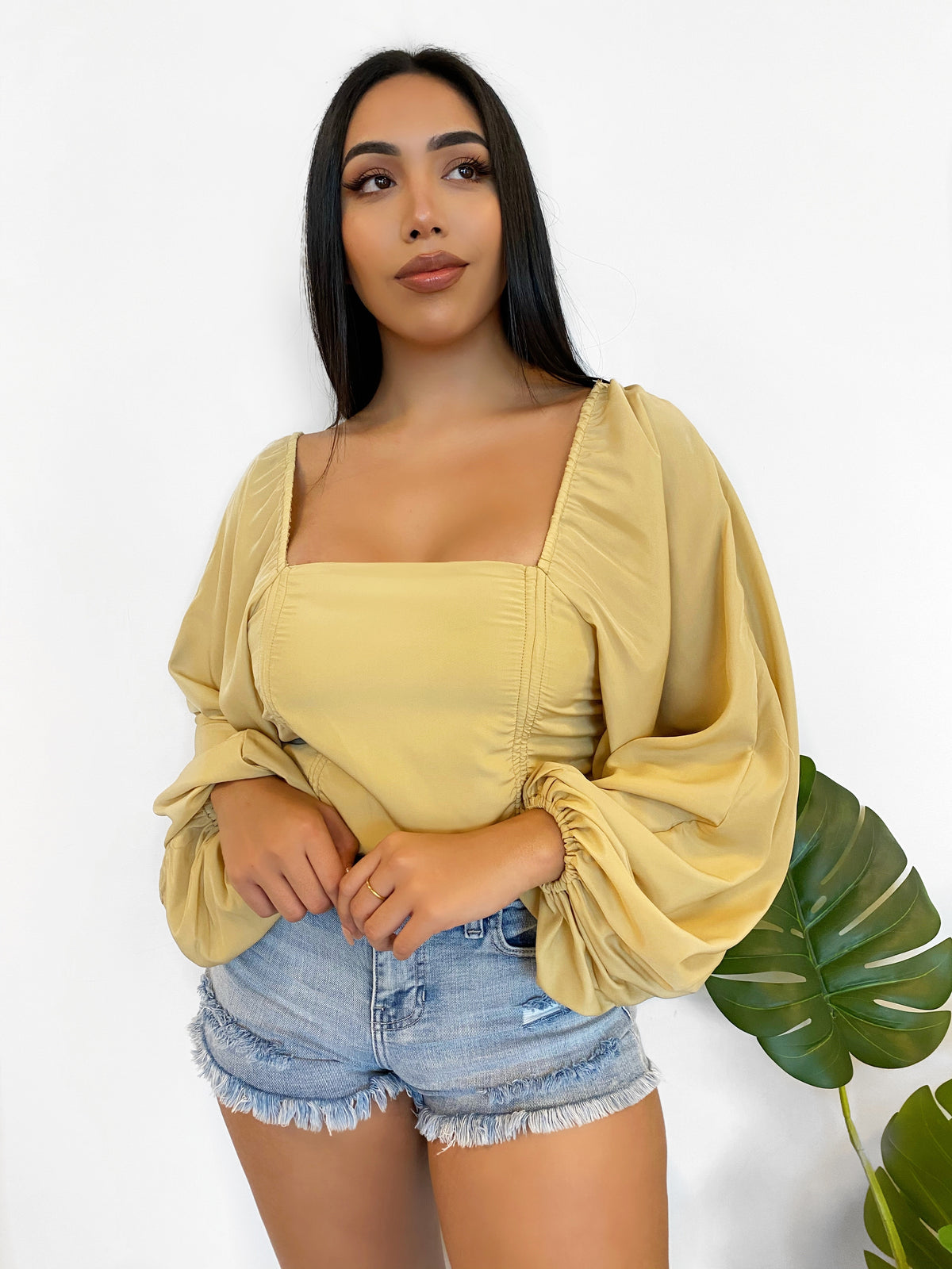 bell bottom sleeves, off the shoulder crop top, scrunch from each side