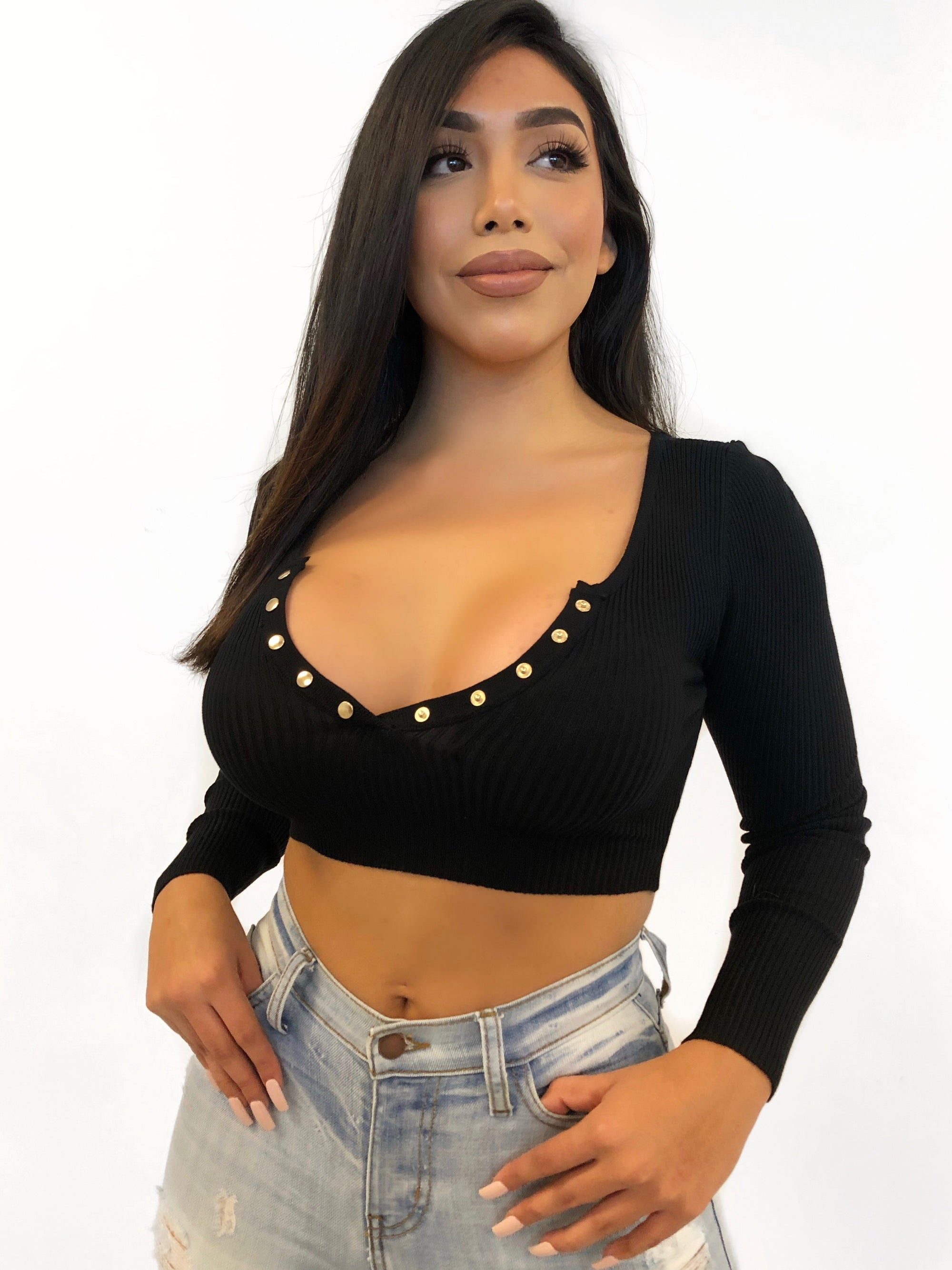 Black long sleeve ribbed crop top, Gold buttons, V neck