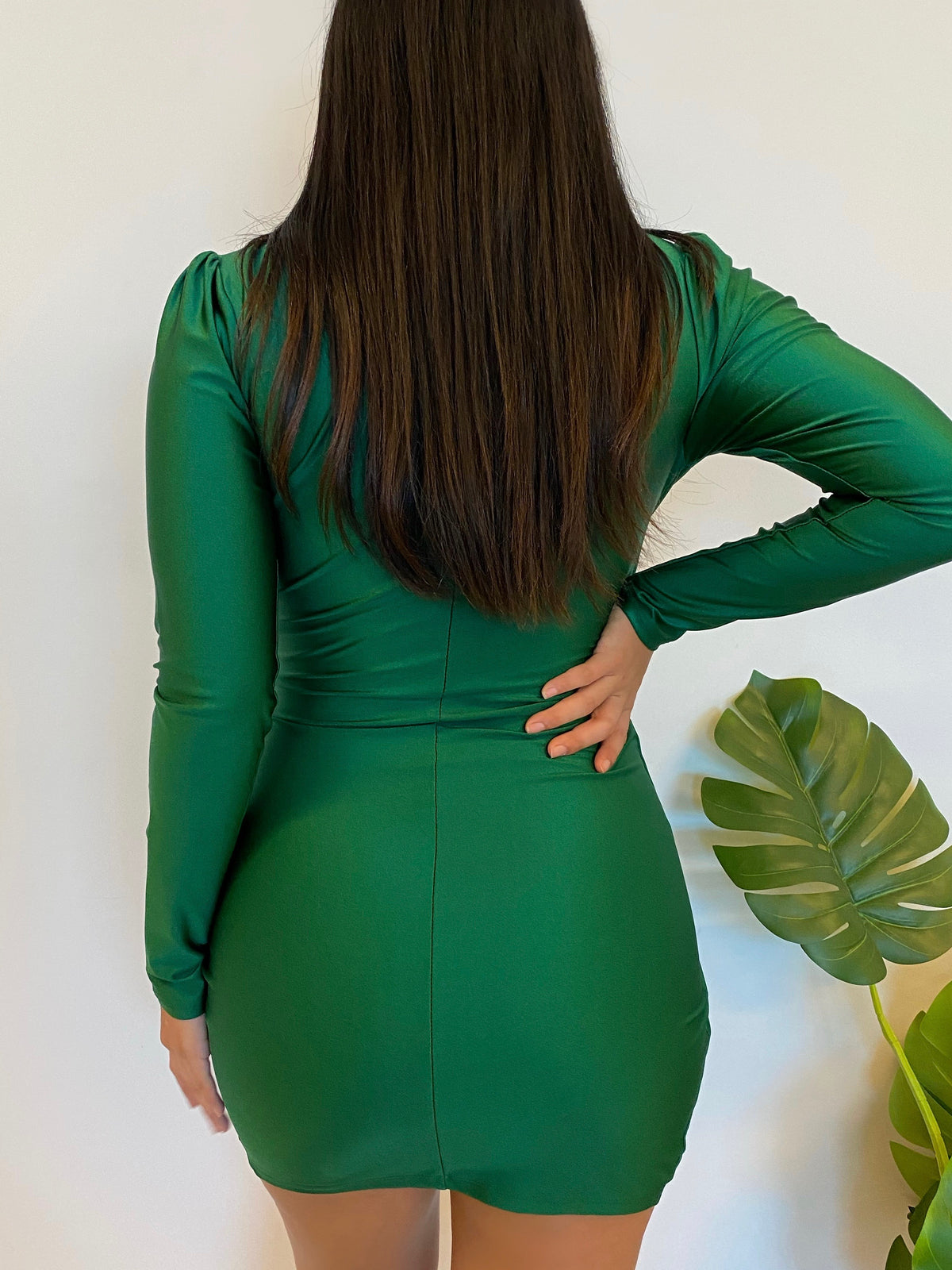 satin green dress, long sleeve, v cut, shoulder pads, wrap dress, mid thigh length