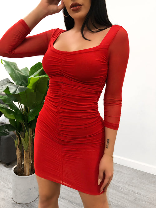 Nancy Mesh Dress (Red)