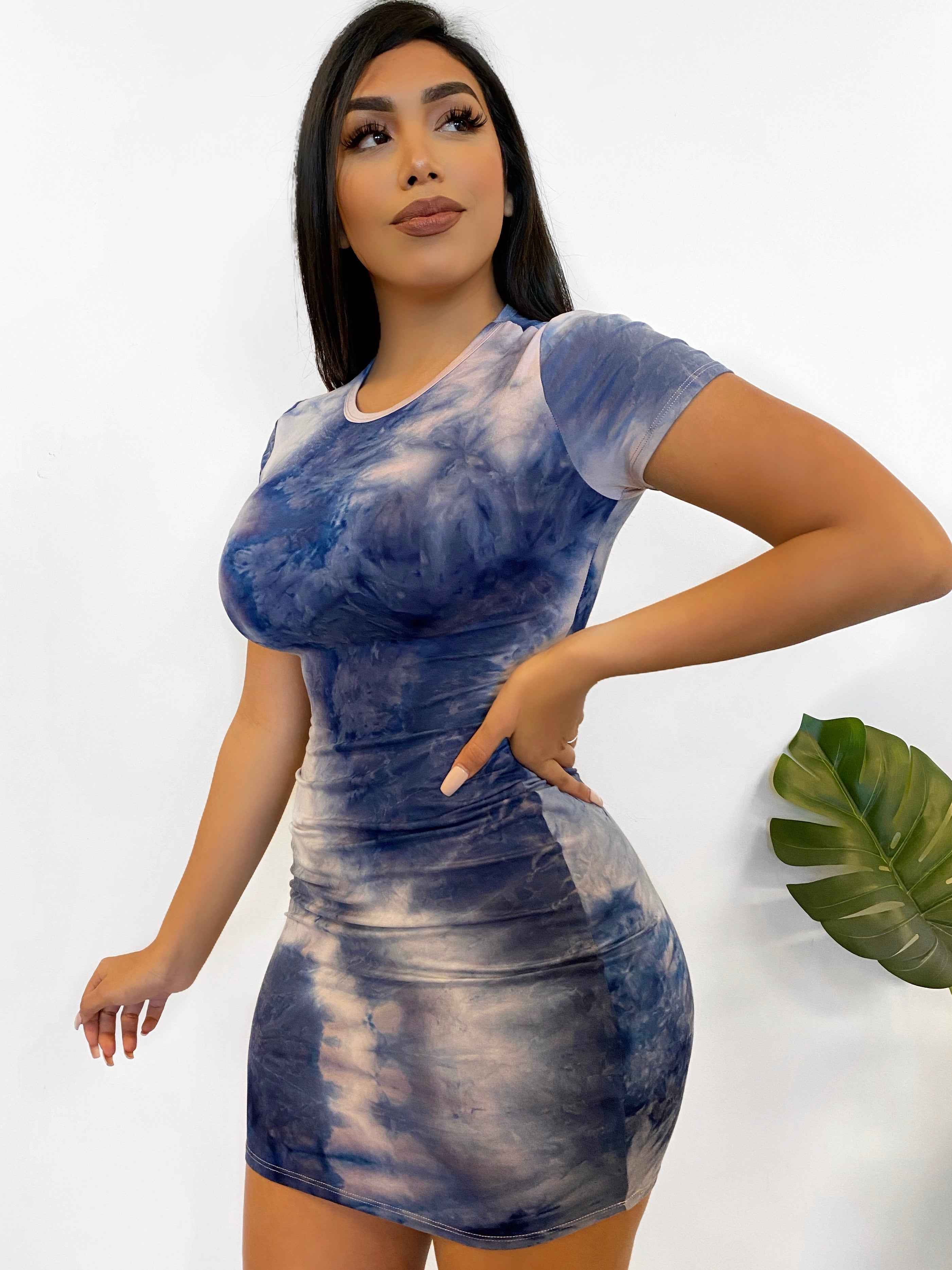 Caitlyn Tie Dye Dress (Navy)