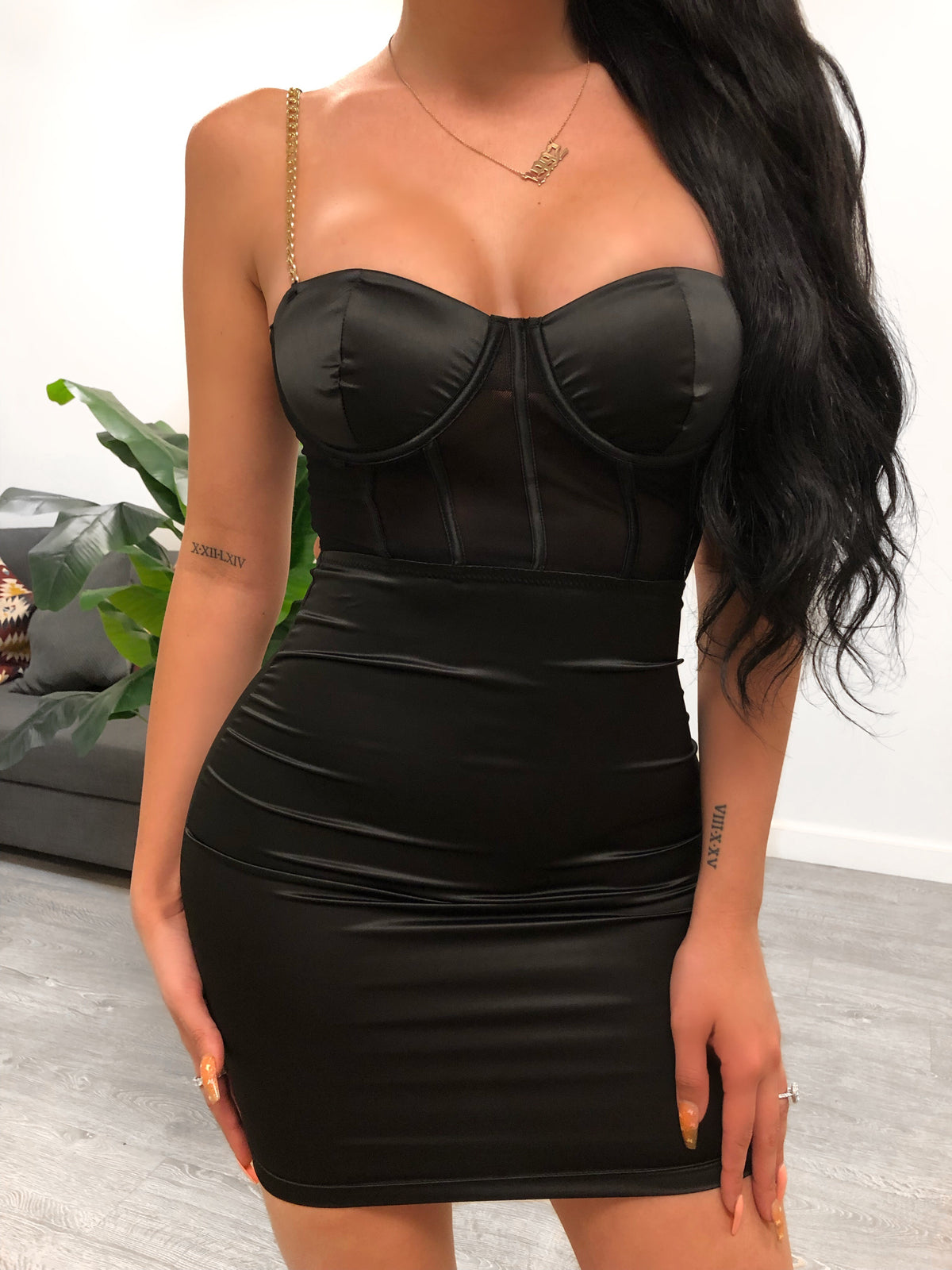 black chain dress, mesh, underwire cup, above the knee length