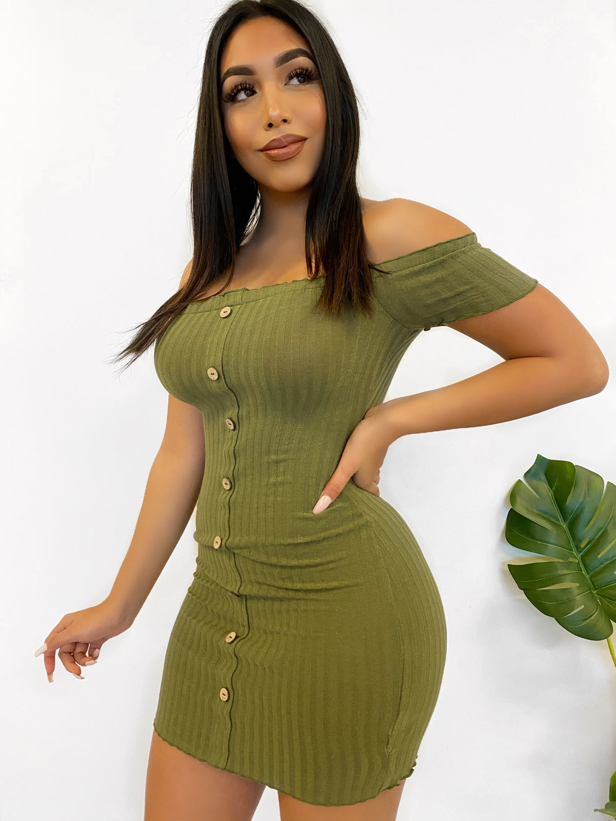 ribbed off the shoulder dress, olive mini dress, faux buttons, mid thigh length