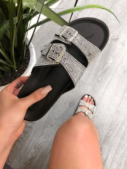 black flat side sandal, two adjustable buckle strap with diamonds