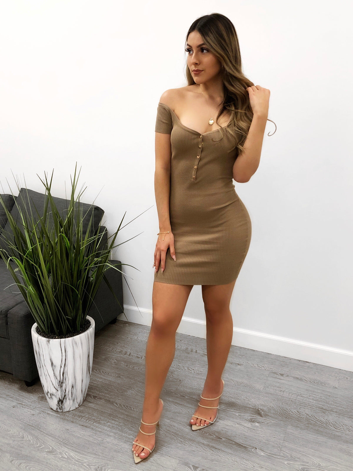 mocha ribbed dress, off the shoulder, gold tone buttons, mid thigh length, short sleeve dress