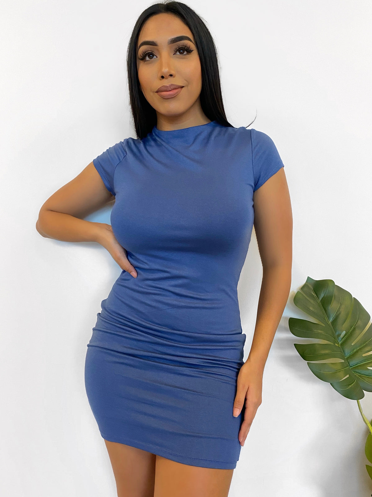 blue mini dress, double lined, mid turtle neck, short sleeve dress