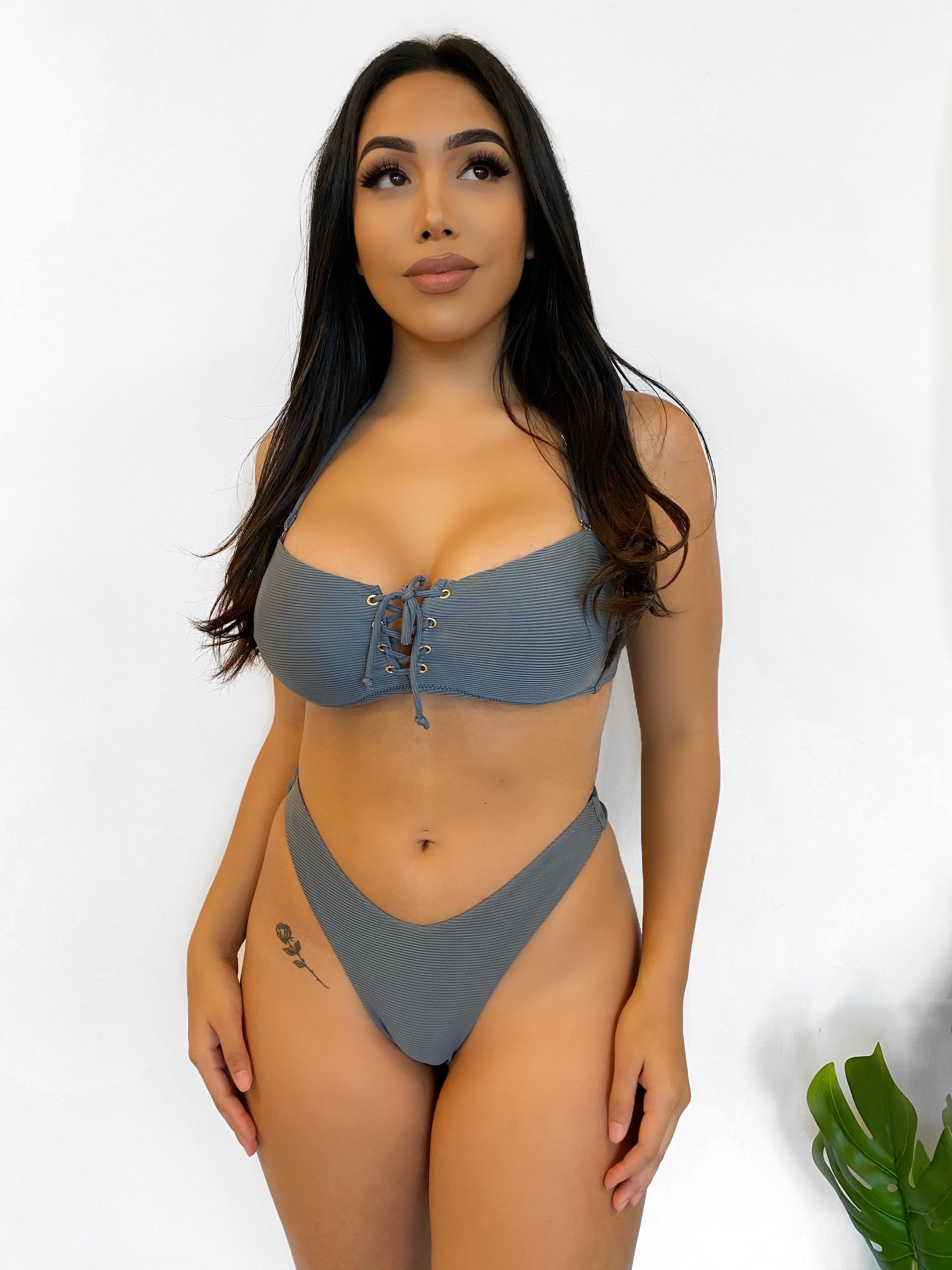 ribbed grey 2 piece bathing suit, criss-cross, gold tone loops, spaghetti strap, high rise bottoms, cheeky bottoms