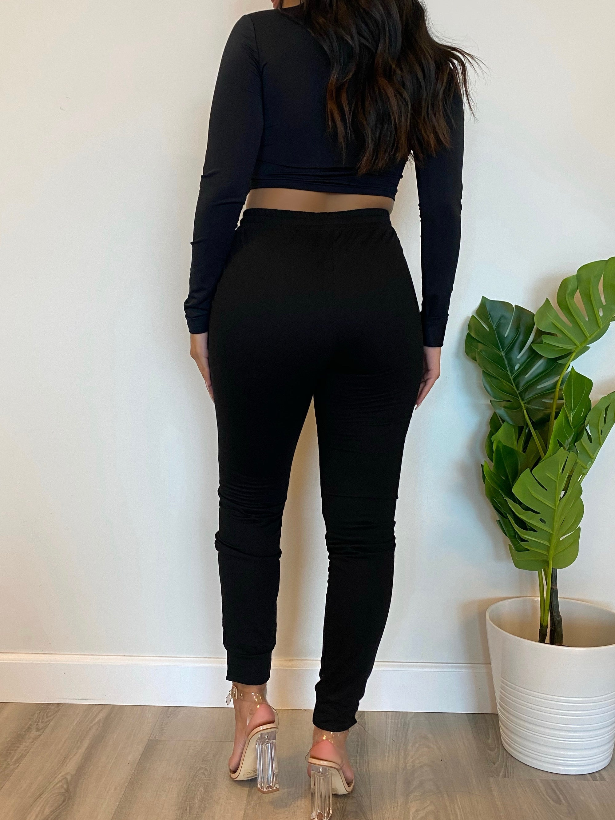 black 2 piece, long sleeve crop top, front zipper, collar top, high waist joggers, drawstring