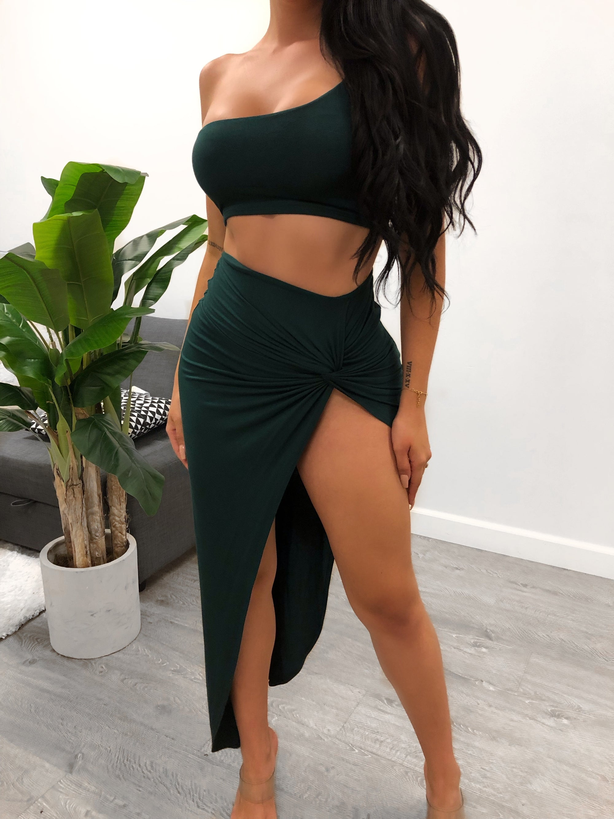 emerald 2 piece, crop top, one shoulder, high waist spandex skirt, high slit, wrap around