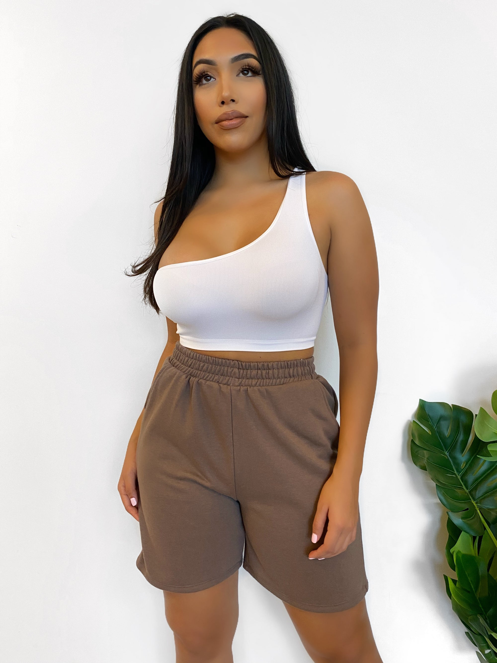 brown sweat shorts, high waist, above the knee length, 2 front pockets