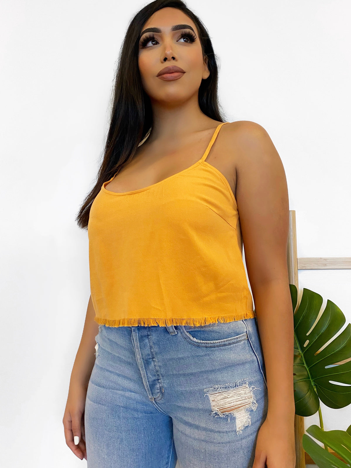 yellow top, distressed bottom, scoop neckline, spaghetti strap, adjustable strap