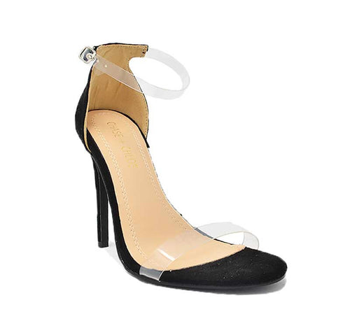 black platform heel with clear straps. 4.5 inches high.