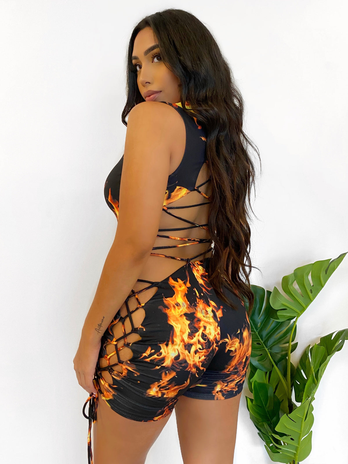 Daisy Fire Romper (Black/Orange)