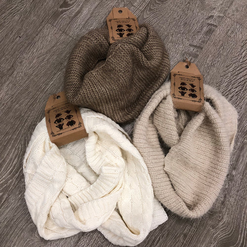 cream knitted scarf, infinity scarf