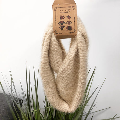 beige knitted infinity scarf