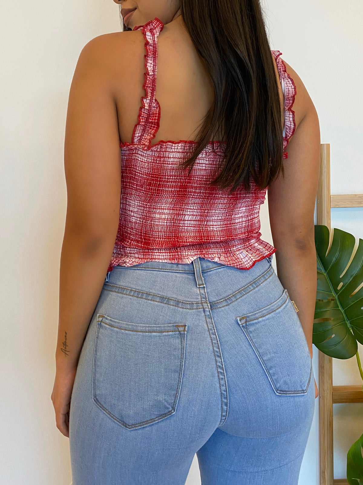 red and white crop top, ruffled straps, straightline