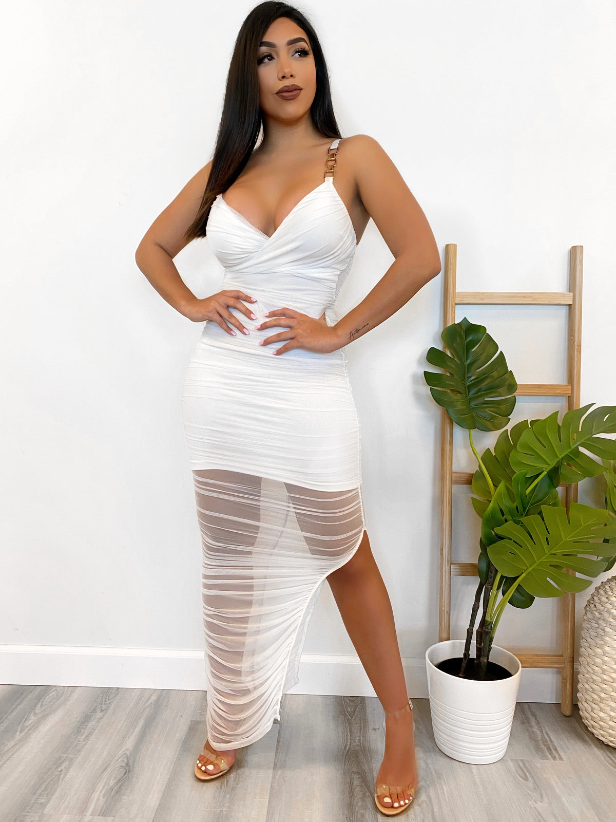 white mesh dress, v cut, gold cut outs on straps, high slit, scrunch, double layer, back zipper, adjustable straps