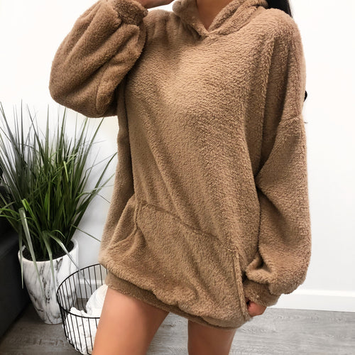 olive oversized hooded sweater, fur like material, ends mid thigh