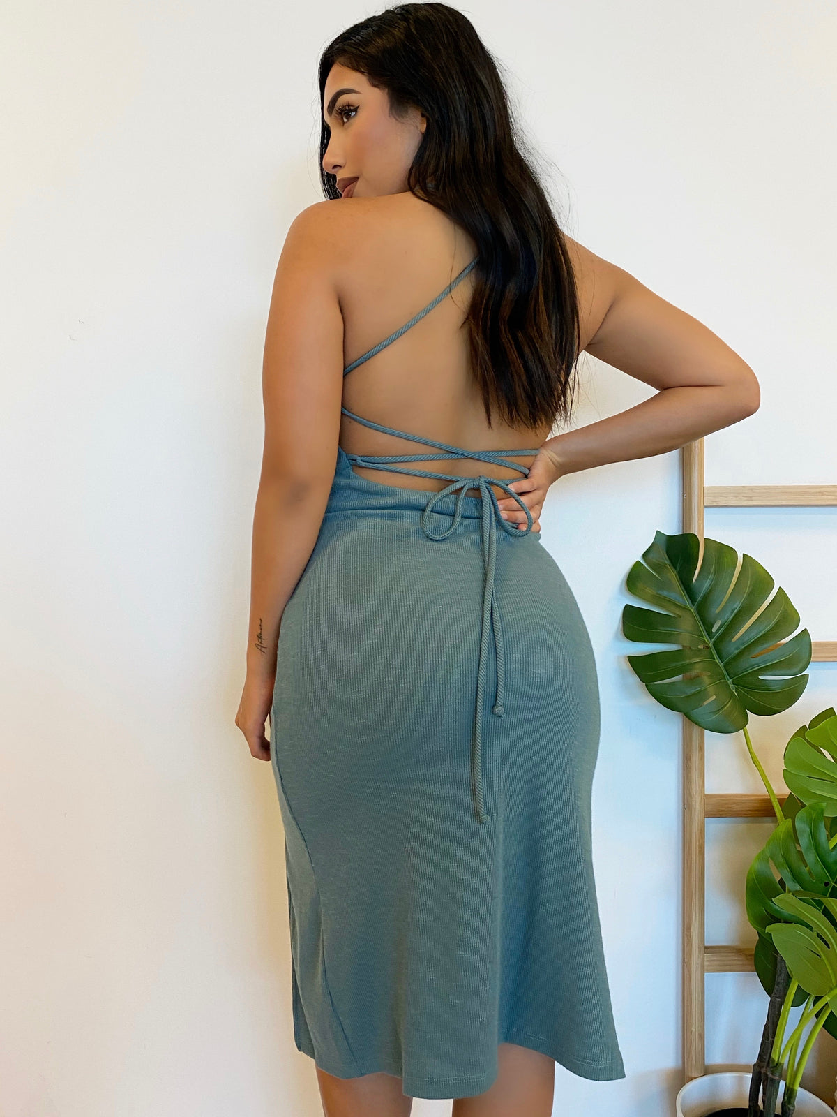 sage ribbed dress, midi dress, spaghetti strap, criss-cross back,  high slit