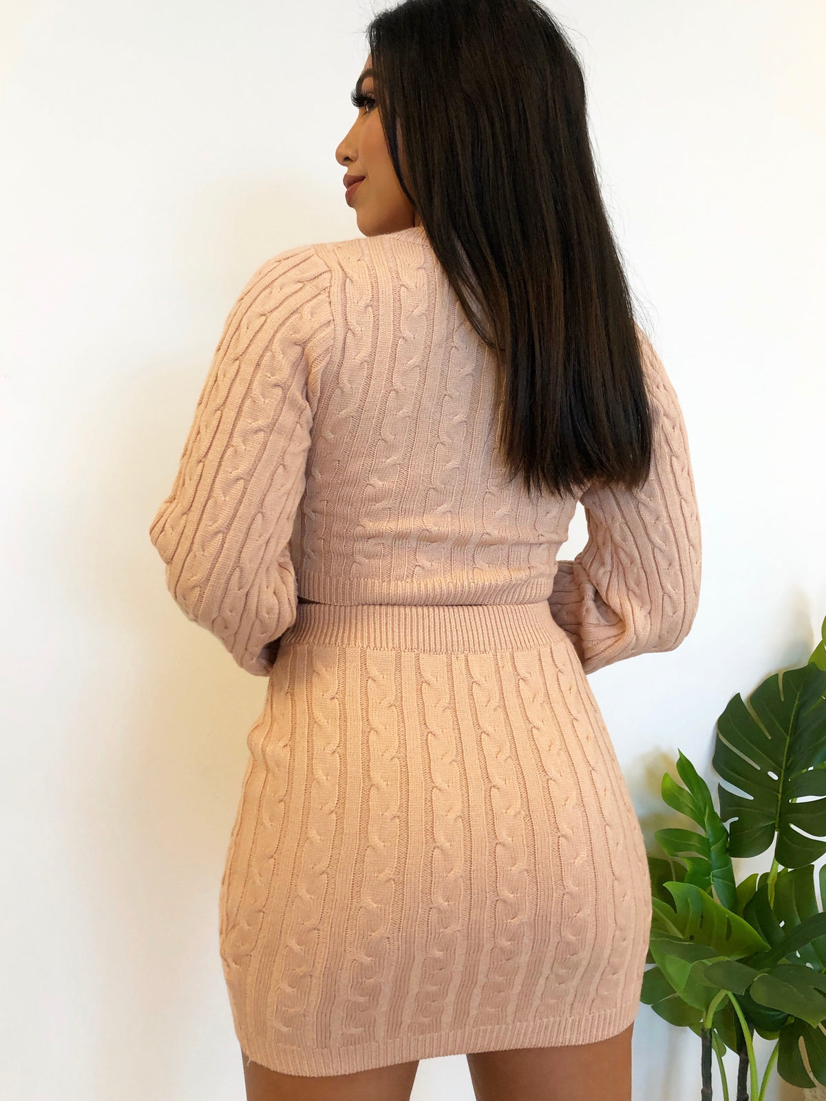 blush 2 piece, long sleeve, high waist skirt, crop top, knit 2 piece, v cut