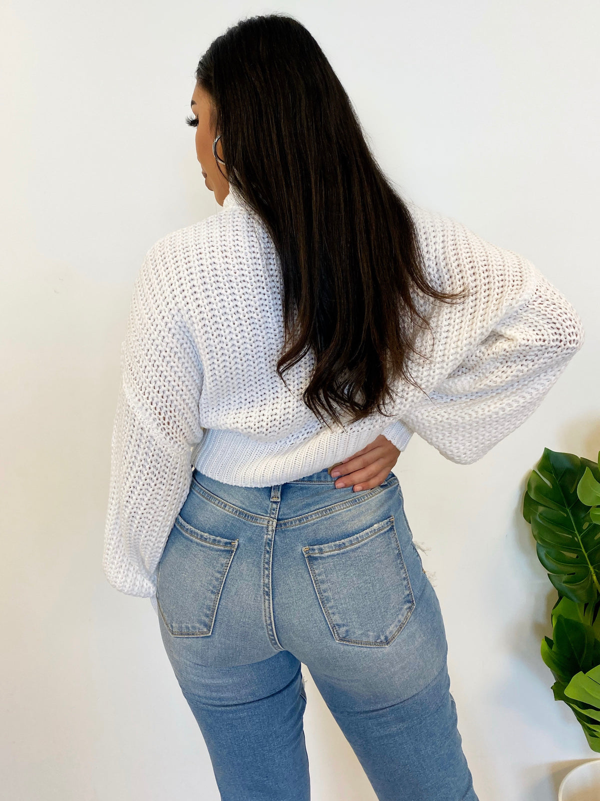 Natalie Crop Sweater (White)