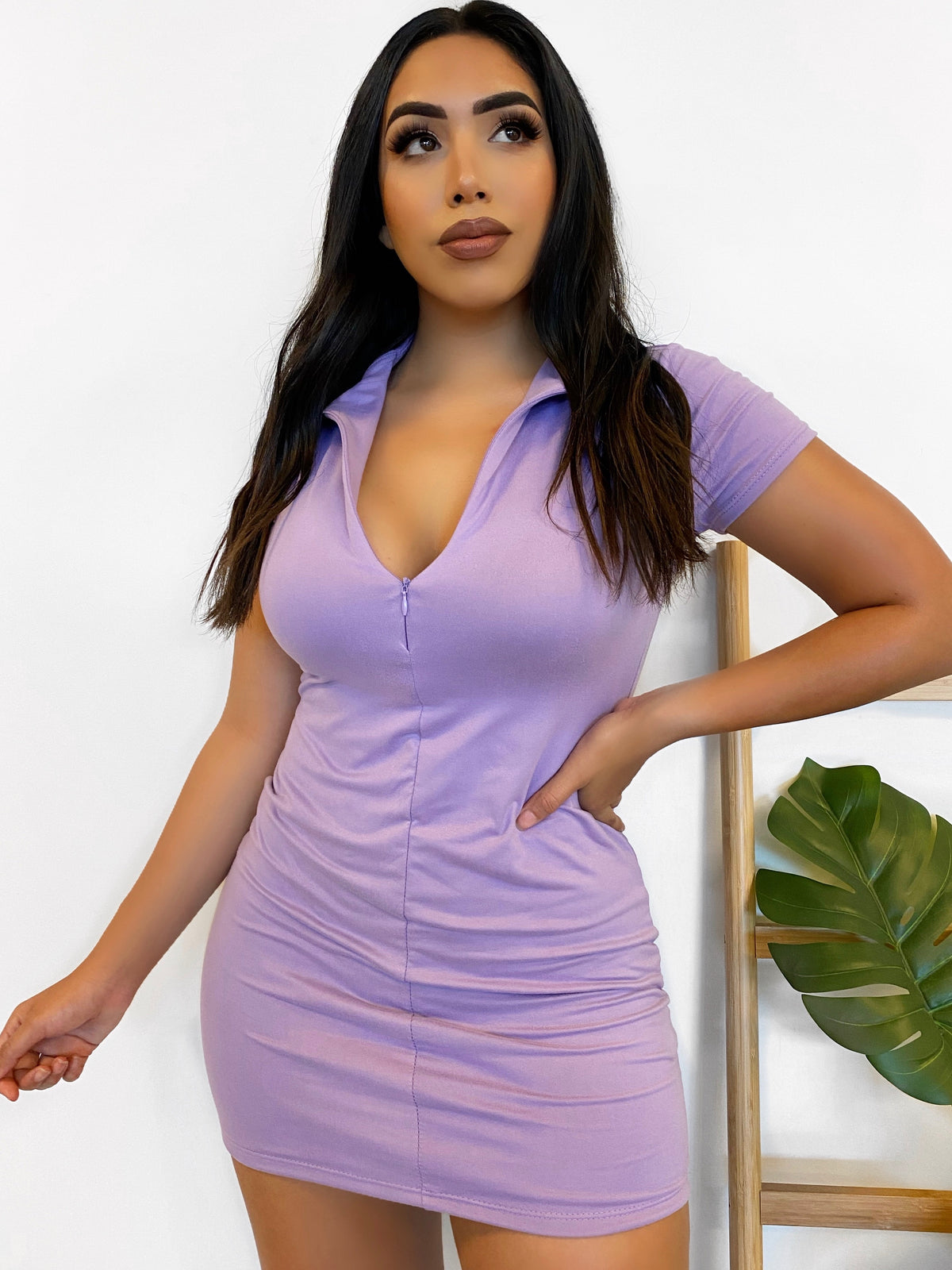 lilac collar mini dress, front zipper, double lined, mid thigh length, short sleeve dress