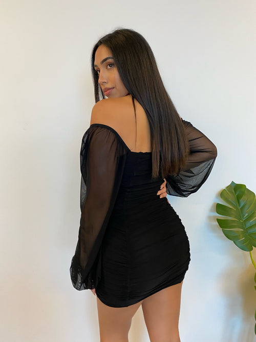long sleeve mesh black dress, off the shoulder black mini dress, mid thigh length