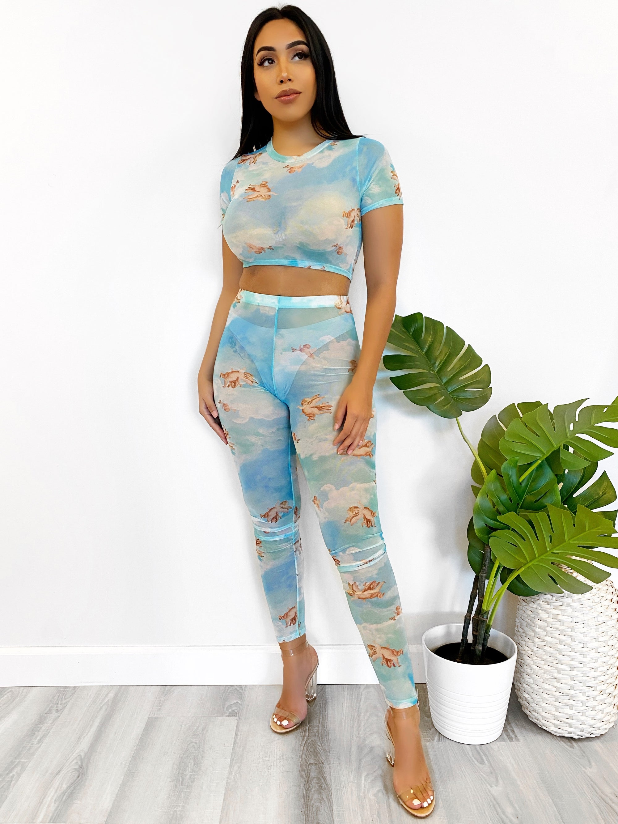 blue angel print 2 piece, mesh leggings, mesh crop top, see through