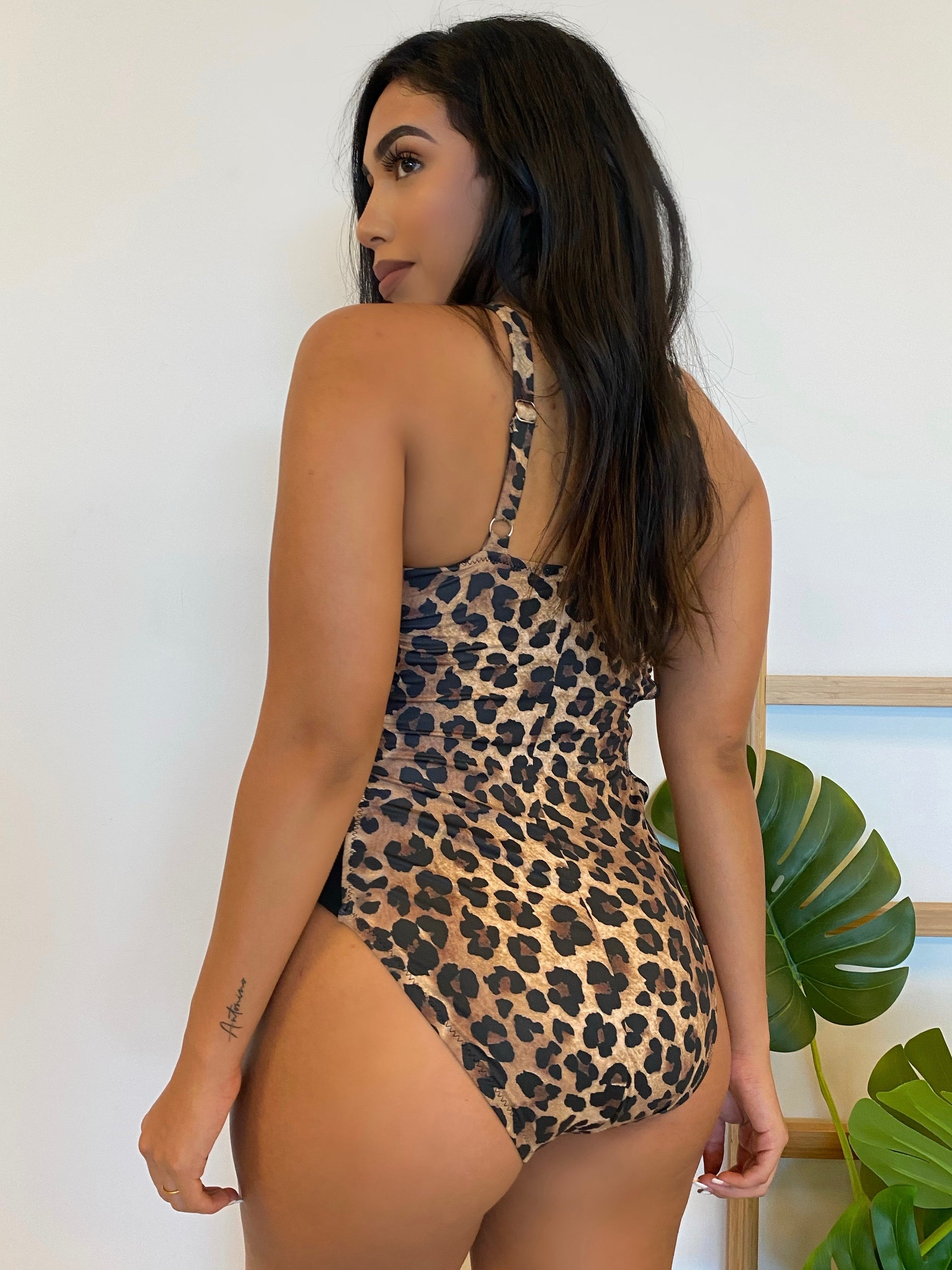 leopard one piece bathing suit, side cut outs, cheeky bottoms