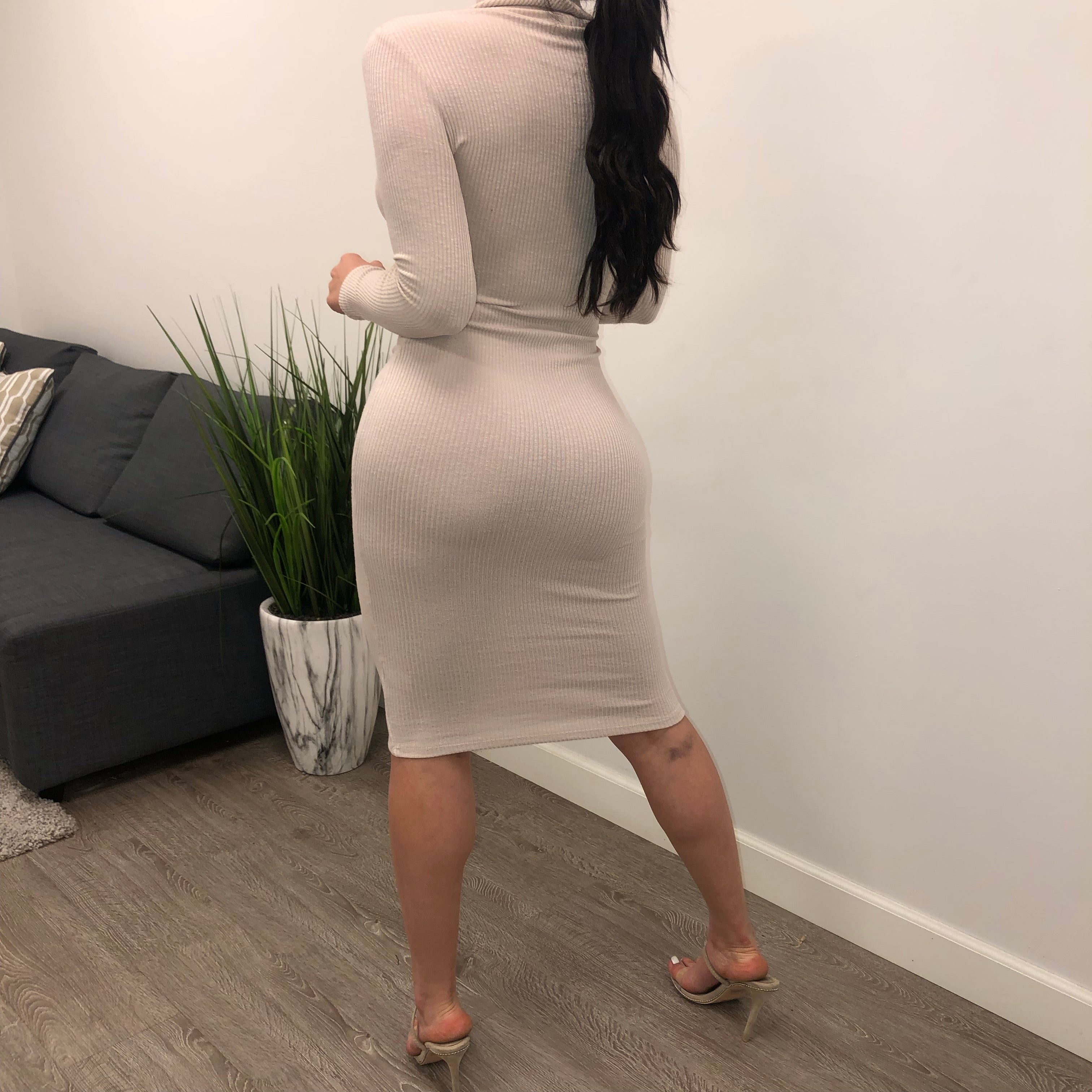 Kehlani Turtleneck Dress (cream)