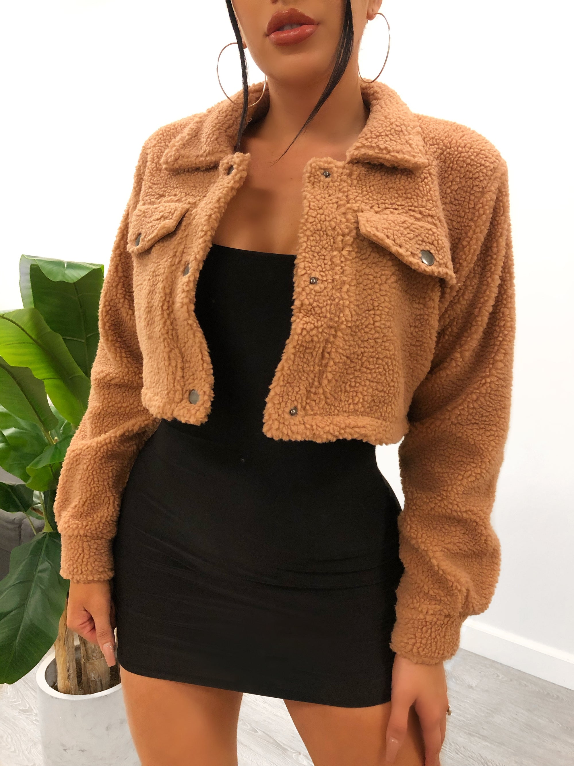 apricot teddy crop jacket, silver buttons, 2 faux pockets, collar jacket