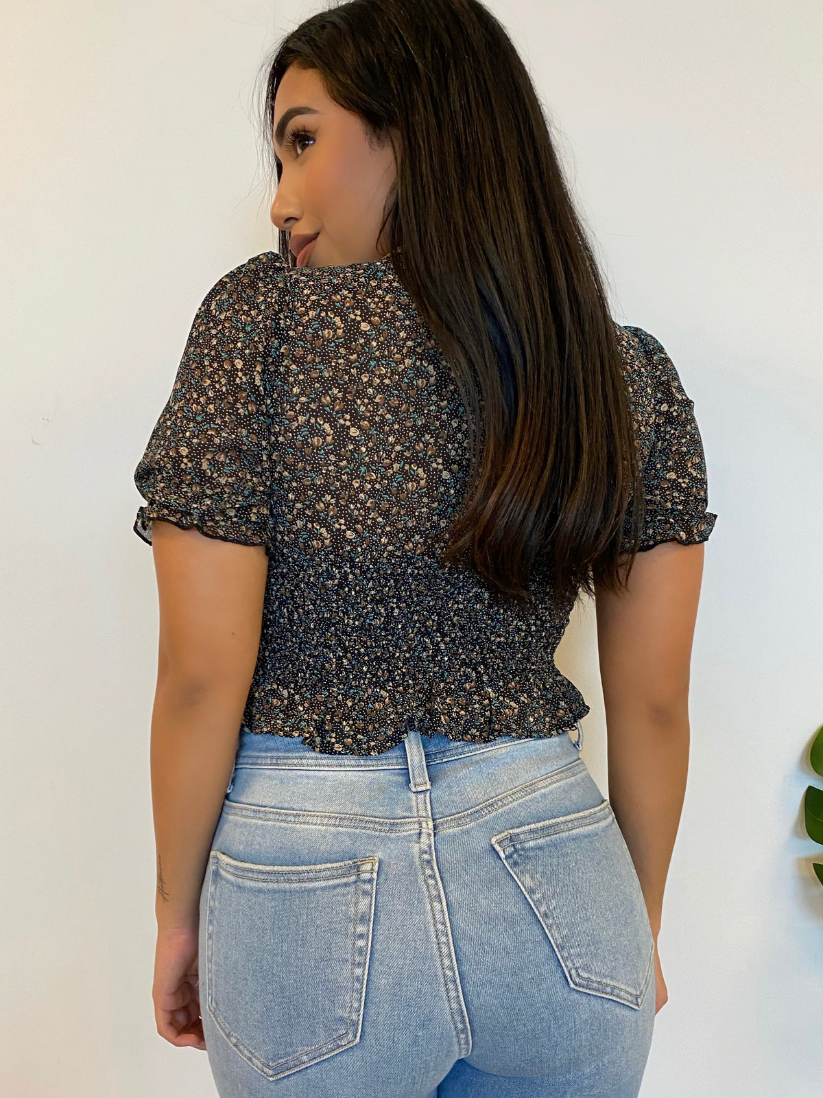 black floral top, self tie up, ruffles sleeves, short sleeve, above the belly button length