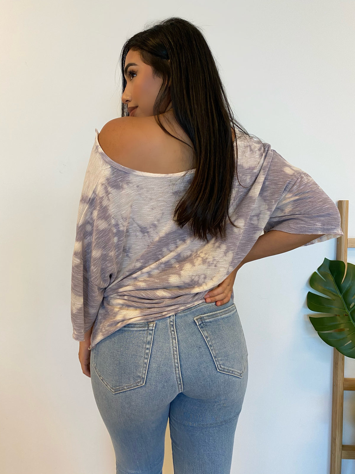 purple tie dye top, oversized top, v neck