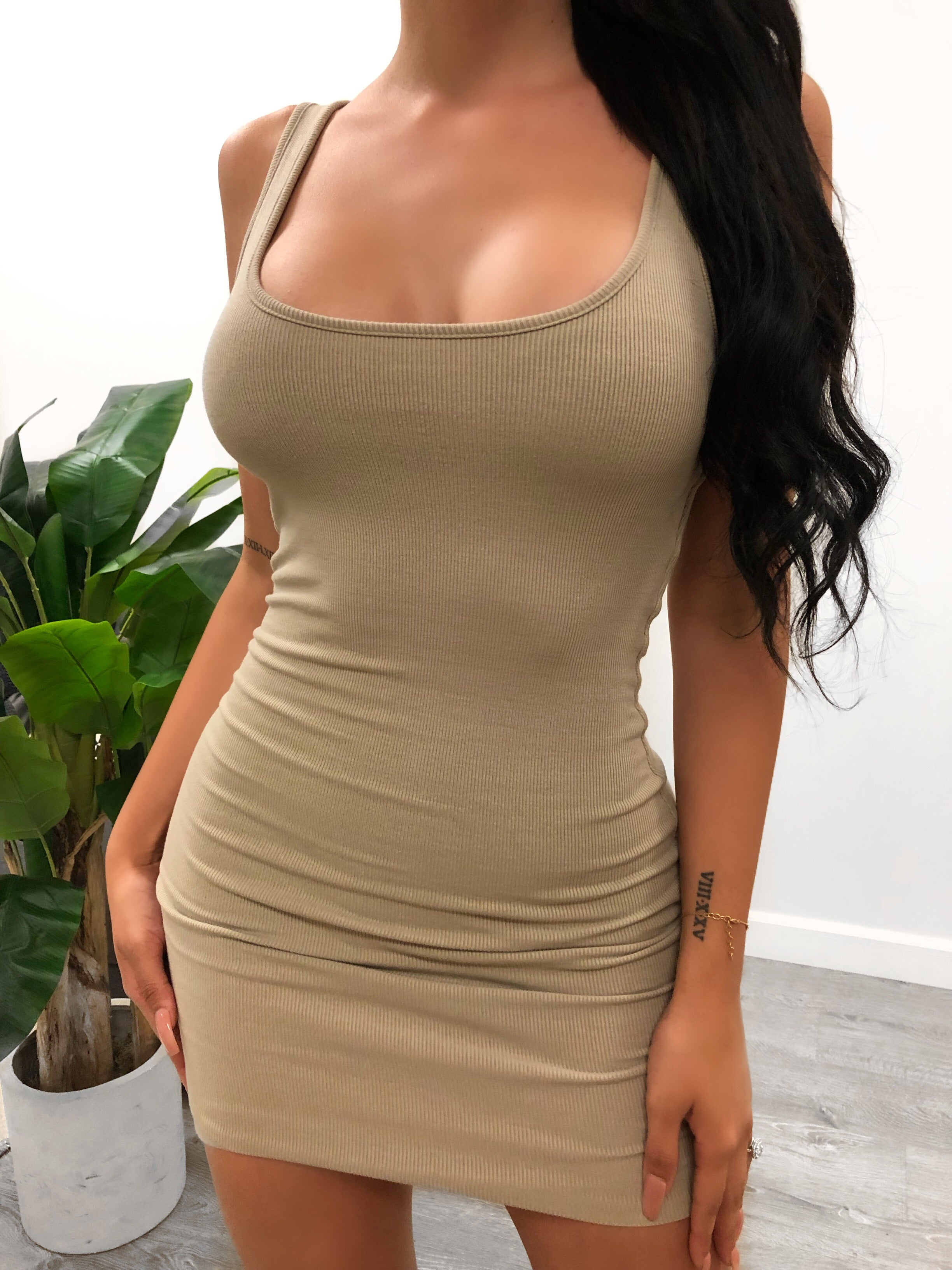 tan Comfy Cami dress. Midi length. Comes in multiple colors. Double Layered.  100% Polyester
